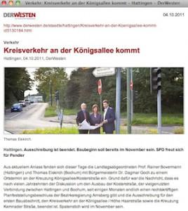 DerWesten.de-Artikel: Kreisverkehr an der Königsallee kommt