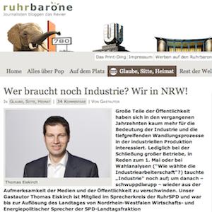 Thomas Eiskirch: Wer braucht noch Industrie? Wir in NRW! (bei ruhrbarone.de)