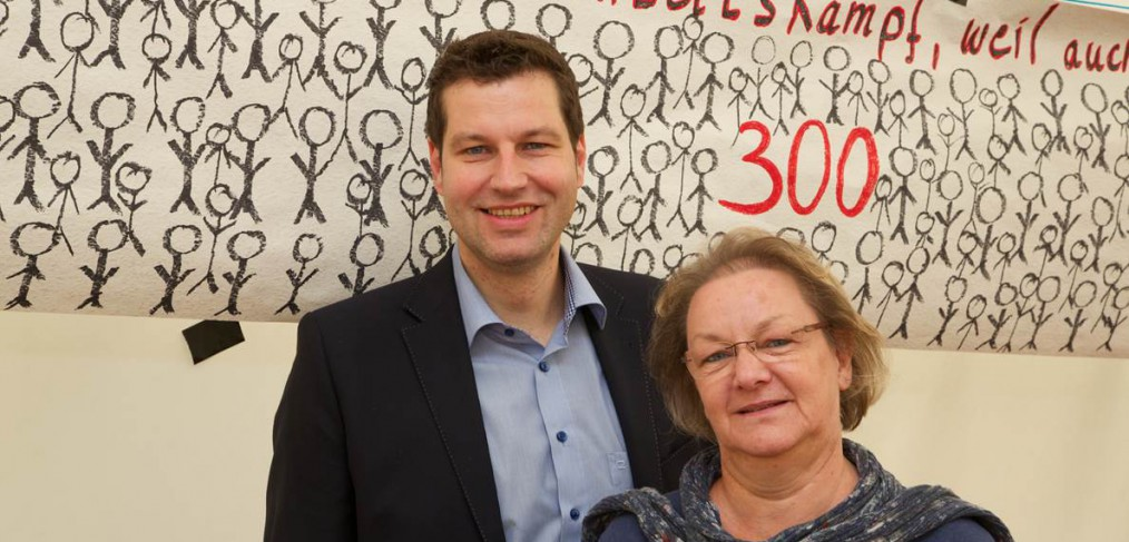 Thomas Eiskirch bei verdi mit Gudrun Müller (ver.di Geschäftsführerin)